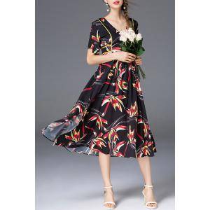 Floral Print Belted Dress -