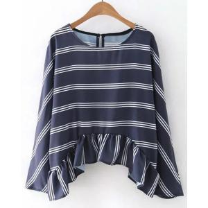 Chic Jewel Neck Long Sleeves Striped Asymmetric Top For Women