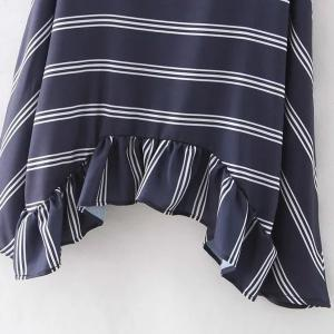 Chic Jewel Neck Long Sleeves Striped Asymmetric Top For Women - CADETBLUE S