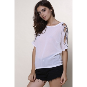 Stylish Scoop Collar Short Sleeve Cut Out Women's T-Shirt - WHITE M