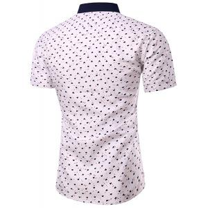 Casual Heart Printing Turn Down Collar Short Sleeves Shirt For Men -