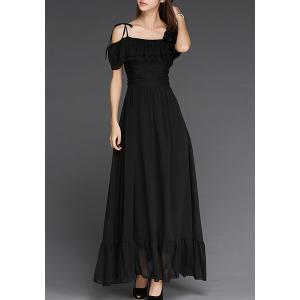 Elegant Off-The-Shoulder Flounce Pleated Short Sleeve Dress For Women -