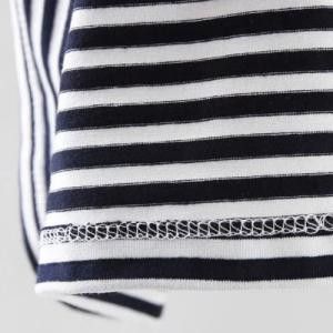 Casual Scoop Neck Short Sleeves Striped Embroidered Tee For Women -