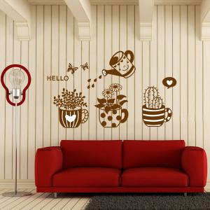 Chic Plants Bonsai Pattern Wall Sticker For Bedroom Livingroom Decoration -