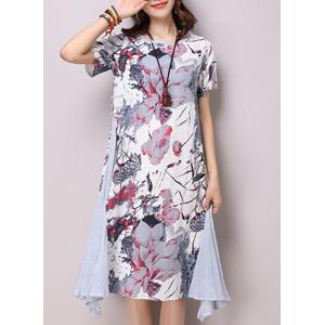 Chic Round Neck Short Sleeve Ink Painting Print Women's Loose-Fitting Dress - Light Gray - L