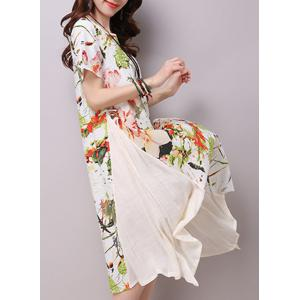 Chic Round Neck Short Sleeve Ink Painting Print Women's Loose-Fitting Dress - LIGHT YELLOW M