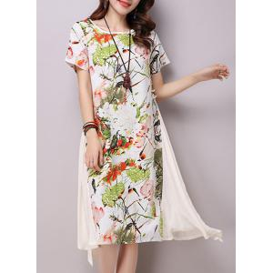 Chic Round Neck Short Sleeve Ink Painting Print Women's Loose-Fitting Dress