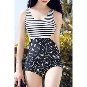 Slimming Stripe Print Hollow Out Openback Women's Swimsuit - Black - Xl