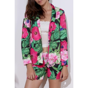 Fashionable Long Sleeve Full Print Coat + Slimming Colorful Shorts Twinset For Women
