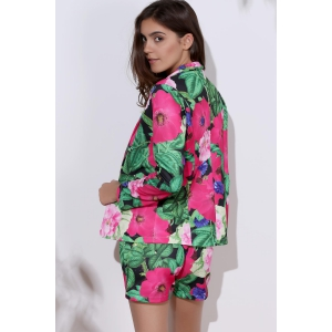 Fashionable Long Sleeve Full Print Coat + Slimming Colorful Shorts Twinset For Women - COLORMIX L