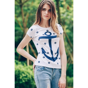 Trendy Scoop Neck Short Sleeve Anchor Print Women's T-Shirt -