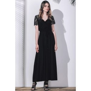 Plunging Neck Lace Sleeves Maxi Prom Dress - BLACK 2XL