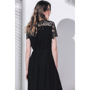 Plunging Lace Insert Maxi Prom Dress with Sleeves - BLACK 2XL