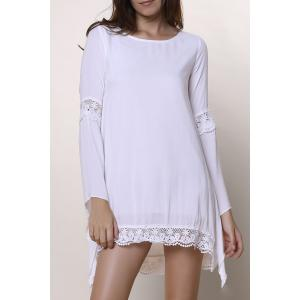 Long Sleeve Shift Crochet Dress with Lace - White - Xl