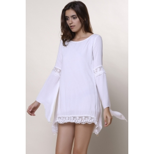 Stylish Jewel Neck Long Sleeve Crochet Dress For Women - WHITE S