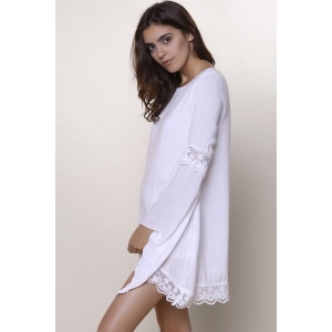 Long Sleeve Shift Crochet Dress with Lace - WHITE S