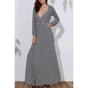 Long Sleeve Deep Plunging Neck Dress