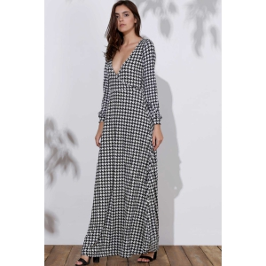 Long Sleeve Deep Plunging Neck Dress - CHECKED L