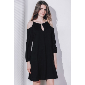 Keyhole Cold Shoulder Dress - BLACK ONE SIZE(FIT SIZE XS TO M)