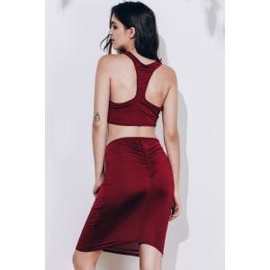 Crop Racerback Ruched Two Piece Club Fitted Dress - WINE RED S