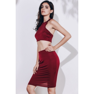 Crop Racerback Ruched Two Piece Club Dress - WINE RED L