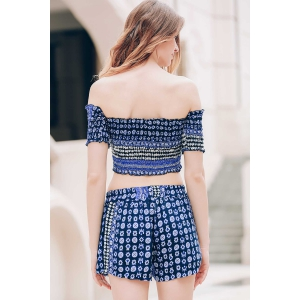 Sexy Off-The-Shoulder Short Sleeve Printed Crop Top + Elastic Waist Shorts Twinset For Women - BLUE XL