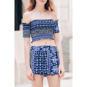 Sexy Off-The-Shoulder Short Sleeve Printed Crop Top + Elastic Waist Shorts Twinset For Women