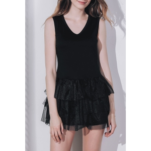 Women's Stylish Sleeveless Black V Neck A-Line Dress