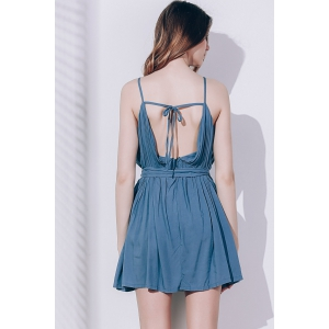 Sexy Spaghetti Strap Sleeveless Solid Color Self Tie Belt Loose Romper For Women -