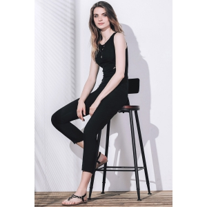 Stylish Round Collar Sleeveless Lace Spliced Jumpsuit For Women - BLACK S