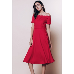 Off The Shoulder Short Sleeve Cocktail Dress - RED XL