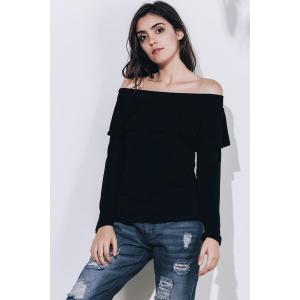 Charming Off-The-Shoulder Long Sleeve Black Flounced Women's T-Shirt -