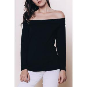 Sexy Off The Shoulder Black Long Sleeve T-Shirt For Women