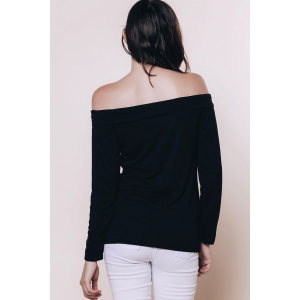 Sexy Off The Shoulder Black Long Sleeve T-Shirt For Women - BLACK S