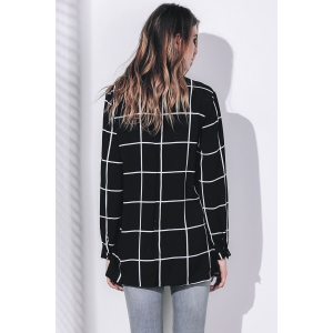 Stylish Shirt Collar Long Sleeve Loose-Fitting Plaid Blouse For Women - BLACK S