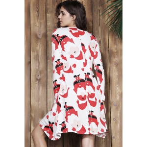 Cute Jewel Neck Santa Printed Long Sleeve Dress For Women - RED L