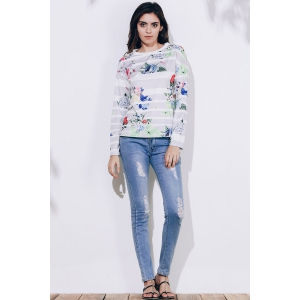 Trendy Striped Colorful Printed Long Sleeve T-Shirt For Women - GRAY M