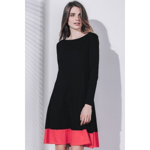 Chic Scoop Collar Long Sleeve Hit Color Plus Size Women's Dress -