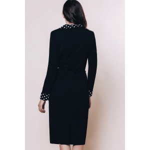 OL Style Turn-Down Collar Long Sleeve Polka Dot Spliced Women's Pencil Dress - BLACK S