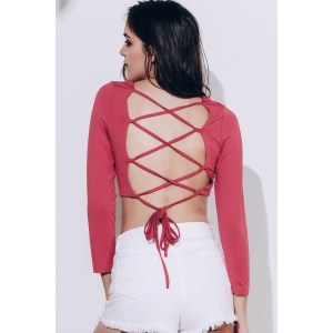 Lace Up Backless Crop Top -