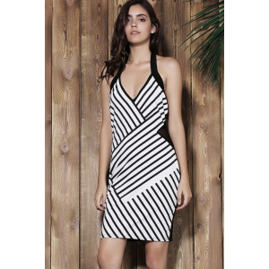 Striped Halter Bodycon Bandage Dress - BLACK ONE SIZE(FIT SIZE XS TO M)