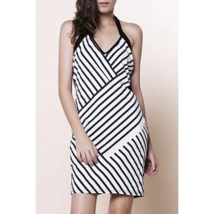 Backless Striped Halter Sheath Club Dress