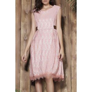 Sleeveless Lace Prom Ball Gown Dress - Pink - 2xl