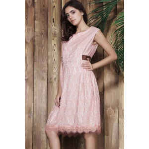 Sleeveless Lace Prom Ball Gown Dress - PINK L
