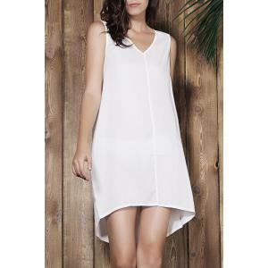 Simple V-Neck Sleeveless White Loose-Fitting Women's Dress - Off-white - M