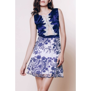 Sexy Scoop Neck Sleeveless See-Through Flower Pattern Women's Dress - Purplish Blue - M
