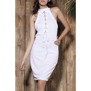 Sexy Halter White Self-Tie Hollow Sleeveless Dress For Women - White - M