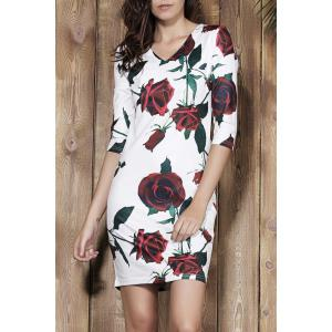 Stylish Plunging Neck 3/4 Sleeve Floral Print Bodycon Women's Dress - White - S