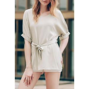 Stylish V-Neck Short Sleeve Self-Tie T-Shirt For Women