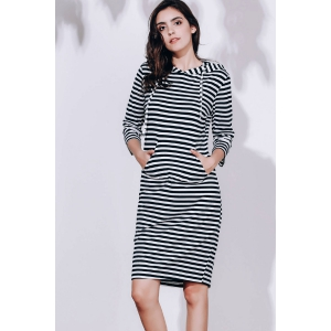 Striped Hoodie Sweatshirt Dress - BLACK S